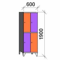 Klädskåp, 4 dörrar, 1900x600x545 mm
