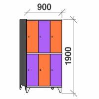 Klädskåp, 6 dörrar, 1900x900x545 mm