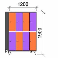 Klädskåp, 8 dörrar, 1900x1200x545 mm