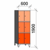 Klädskåp, 6 dörrar, 1900x600x545 mm