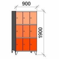Klädskåp, 9 dörrar, 1900x900x545 mm