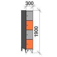 Klädskåp, 4 dörrar, 1900x300x545 mm