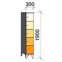 Klädskåp, 5 dörrar, 1900x300x545 mm