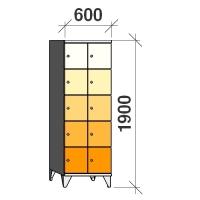 Klädskåp, 10 dörrar, 1900x600x545 mm