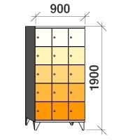 Klädskåp, 15 dörrar, 1900x900x545 mm