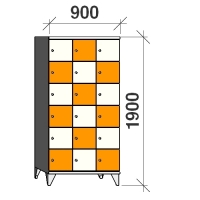 6-tier locker, 18 doors, 1900x900x545 mm