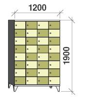 Klädskåp, 32 dörrar, 1900x1200x545 mm