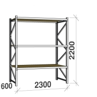 Lagerhylla startsektion 2200x2300x600 350kg/hyllplan,3 hyllor, spånskiva