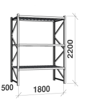 Lagerhylla startsektion 2200x1800x500 480kg/hyllplan,3 hyllor, zinkplåt