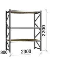 Lagerhylla startsektion 2200x2300x800 350kg/hyllplan,3 hyllor, spånskiva