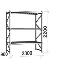 Lagerhylla startsektion 2200x2300x900 350kg/hyllplan,3 hyllor, zinkplåt