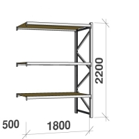 Lagerhylla följesektion 2200x1800x500 480kg/hyllplan 3 hyllor, spånskiva