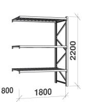 Lagerhylla följesektion 2200x1800x800 480kg/hyllplan 3 hyllor, zinkplåt