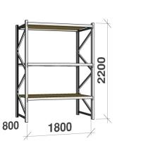 Lagerhylla startsektion 2200x1800x800 480kg/hyllplan,3 hyllor, spånskiva