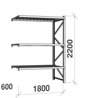 Lagerhylla följesektion 2200x1800x600 480kg/hyllplan 3 hyllor, zinkplåt