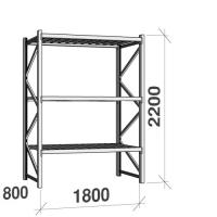 Lagerhylla startsektion 2200x1800x800 480kg/hyllplan,3 hyllor, zinkplåt