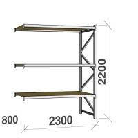 Lagerhylla följesektion 2200x2300x800 350kg/hyllplan 3 hyllor, spånskiva