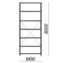 Lagerhylla startsektion 3000x1000x400 150kg/hyllplan,7 hyllor begagnad