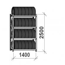 Däckställ startsektion 2500x1400x500, 4 hyllplan,600kg/plan