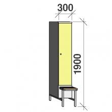 Klädskåp med bänk, 1x300 1900x300x830