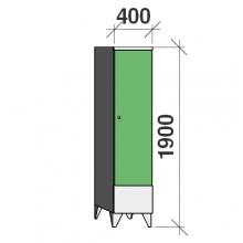 Klädskåp 1x400, 1900x400x545 , kort dörrar, separationsvägg
