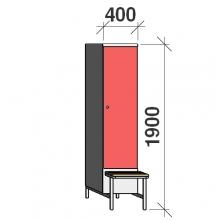 Klädskåp med bänk, 1x400 1900x400x830