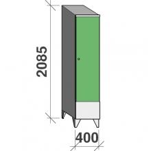 Skåp 1x400, 2085x400x545 kort dörr, sluttande topp, separationsvägg