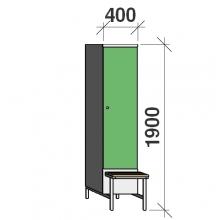 Klädskåp med bänk, 1x400 1900x400x830, separationsvägg