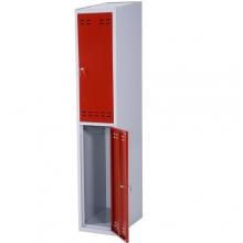 Klädskåp, röd/grå 2 dörr 1920x350x550