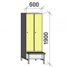 Klädskåp med bänk, 2x300 1900x600x830