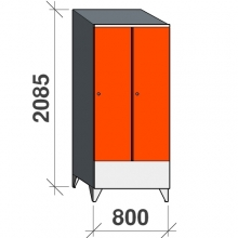 Skåp 2x400, 2085x800x545 kort dörr, sluttande topp