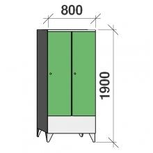 Klädskåp 2x400, 1900x800x545 , kort dörrar, separationsvägg