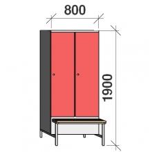 Klädskåp med bänk, 2x400 1900x800x830
