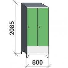 Skåp 2x400, 2085x800x545 kort dörr, sluttande topp, separationsvägg