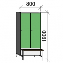 Locker with a bench, 2x400 1900x800x830, sep. wall