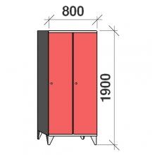 Skåp 2x400, 1900x800x545, lång dörrar