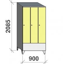 Skåp 3x300, 2085x900x545 kort dörr, sluttande topp