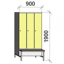 Klädskåp med bänk, 3x300 1900x900x830