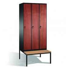 Skåp,3x300 MDF dörrar, med bänk 2090x900x815