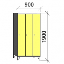 Skåp 3x300, 1900x900x545, lång dörrar