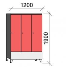 Klädskåp 3x400, 1900x1200x545 , kort dörrar