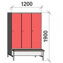 Klädskåp med bänk, 3x400 1900x1200x830