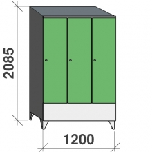 Locker 3x400, 2085x1200x545 short door, sep. wall, sloping top