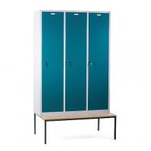 Klädskåp med bänk, 3 dörrar, 1200x810x2090mm