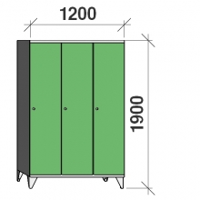 Skåp 3x400, 1900x1200x545 lång dörrar, sluttande topp, separationsvägg