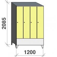 Locker 4x300, 2085x1200x545 short door, sloping top