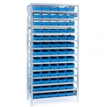 Small parts shelving 2100x1000x300, 65 bins 300x180x95