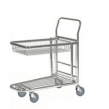 Stackningsbar butik/lagervagn med korg