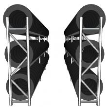 Däckställ, komplett för en 20-fots container, 144 däck