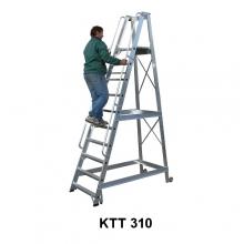 Trappstege, 10-steg, med hjul, höjd plattform 2520mm